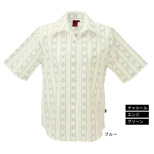 かりゆしウェア【月桃物語】 レディース 花織ストライプ柄 スキッパー