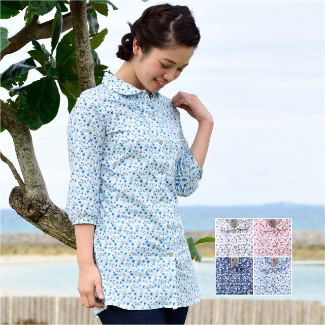 かりゆしウェア 沖縄産アロハシャツ レディース ハイビスカス小花柄 チュニック 七分袖