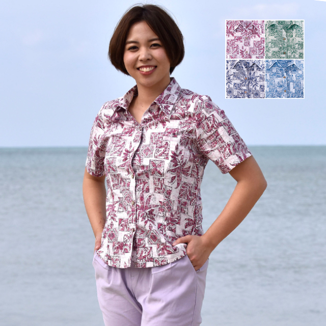 かりゆしウェア 沖縄 アロハシャツ レディース デイゴ パッチワーク柄 スキッパー