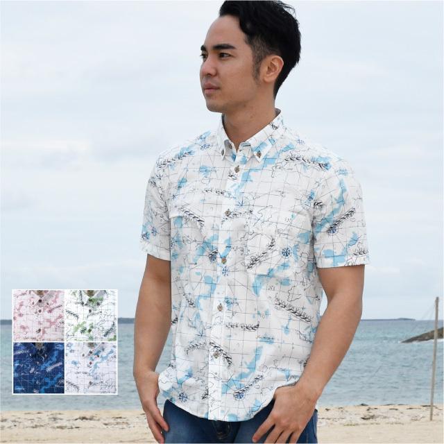 かりゆしウェア 沖縄アロハシャツ メンズ 海図柄 ボタンダウン ボディフィット