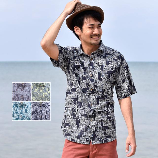 かりゆしウェア 沖縄 アロハシャツ メンズ デイゴ パッチワーク柄 ホリゾンタル