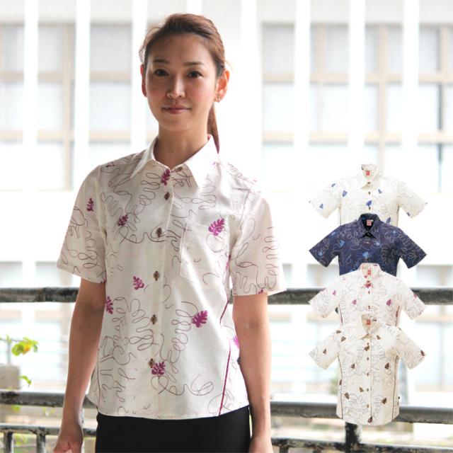 かりゆしウェア 沖縄産アロハシャツ レディース 月桃物語 モンステラ柄 シャツカラー