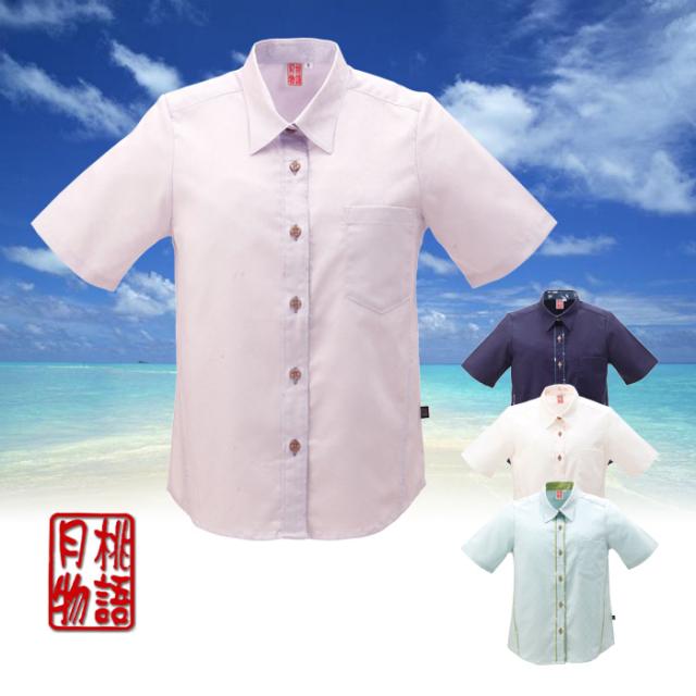 かりゆしウェア 沖縄産アロハシャツ レディース 新月桃ジャガード柄 シャツカラー