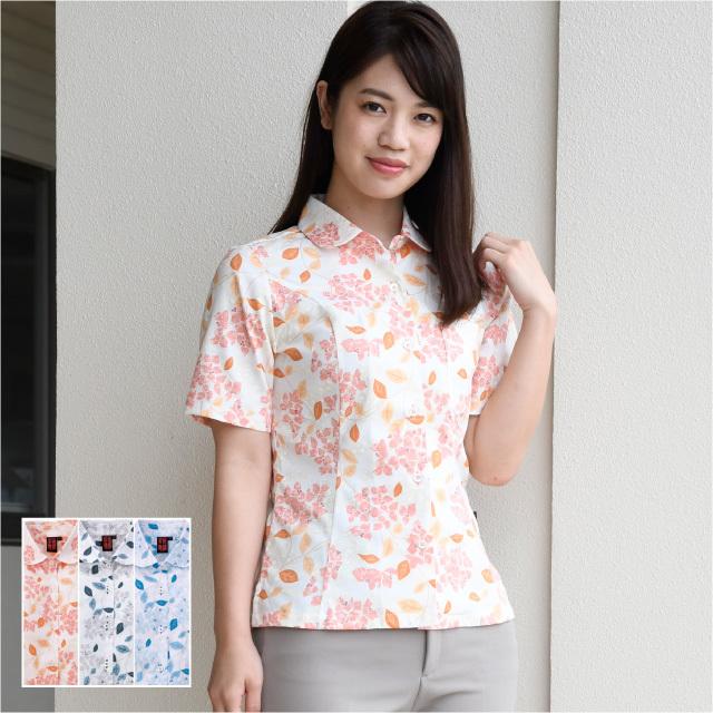 かりゆしウェア 沖縄アロハシャツ レディース ブーゲンビリア柄 丸衿シャツ 半袖