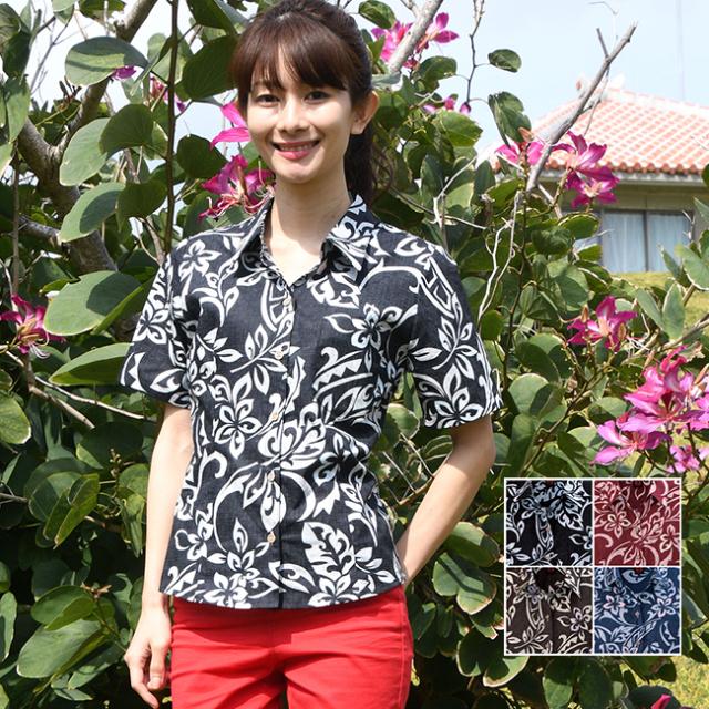 かりゆしウェア 沖縄 アロハシャツ レディース プルメリアトライバル柄 スキッパー