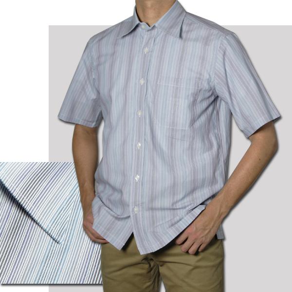 紳士 半袖レギュラー衿ストライプシャツ(ブルー)【日本製】