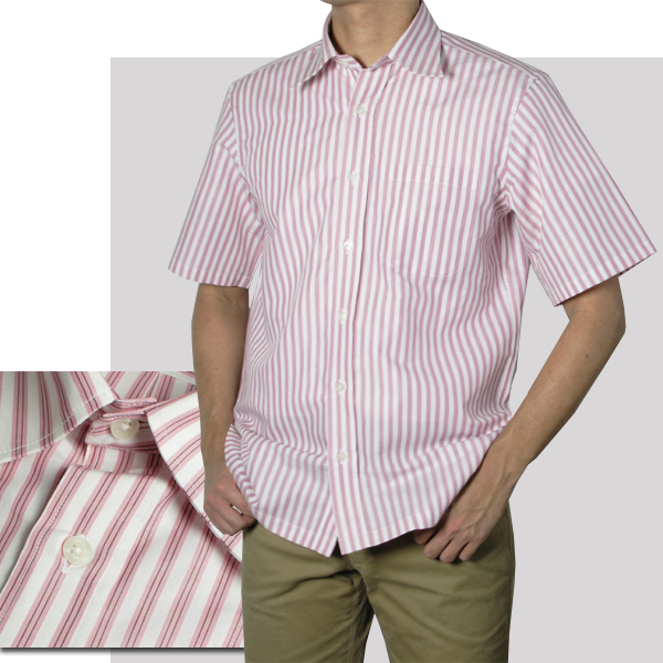 紳士 半袖レギュラー衿ストライプシャツ(ピンク)【日本製】