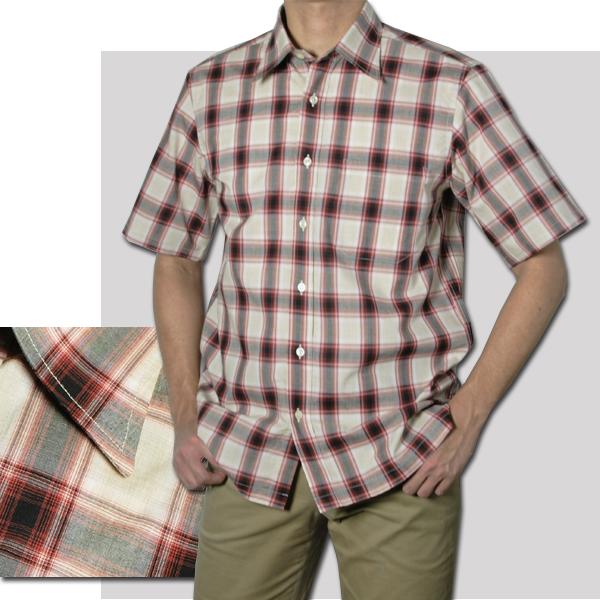 紳士 半袖レギュラー衿チェックシャツ(ワイン)【日本製】