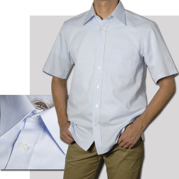 紳士 半袖レギュラー衿ストライプシャツ(サックス)【日本製】