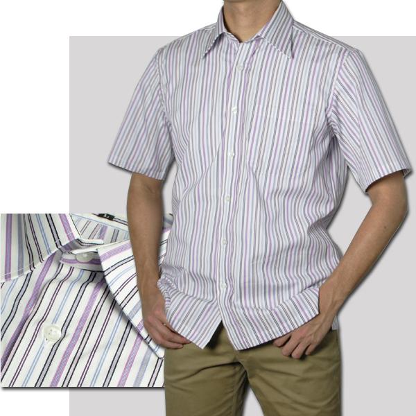 紳士 半袖レギュラー衿ストライプシャツ(パープル)【日本製】