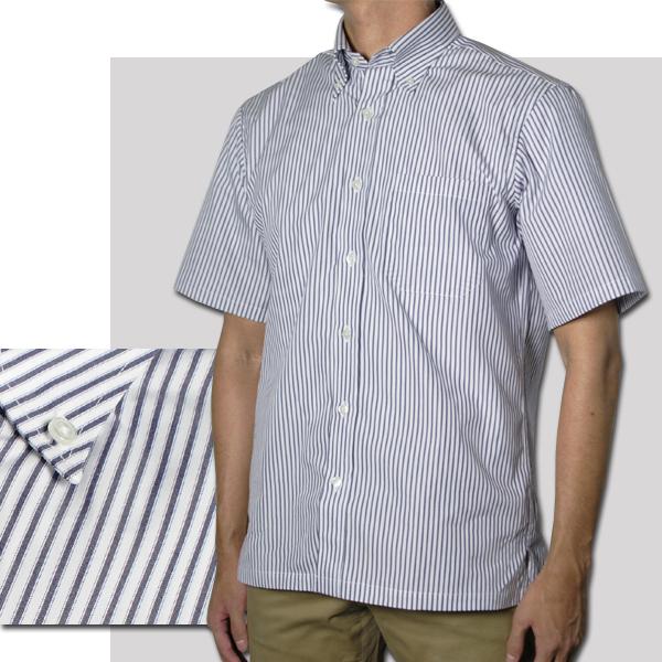 紳士 半袖ボタンダウンストライプシャツ(コン、サックス)【日本製】