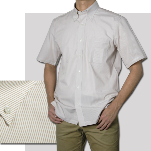 紳士 半袖ボタンダウンストライプシャツ(サックス、モカ)【日本製】