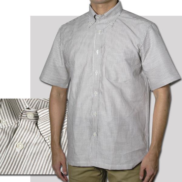 紳士 半袖ボタンダウンストライプシャツ(ブラウン)【日本製】