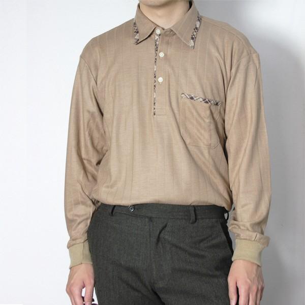 メンズ 地柄ストライプ長袖シャツ