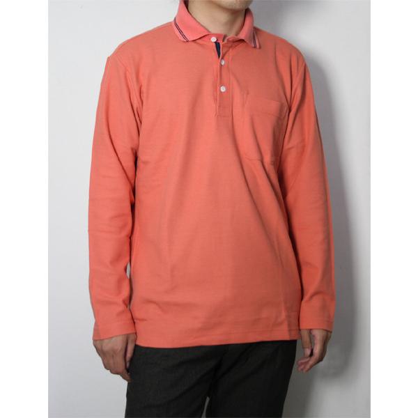 メンズ 鹿の子無地 長袖ポロシャツ