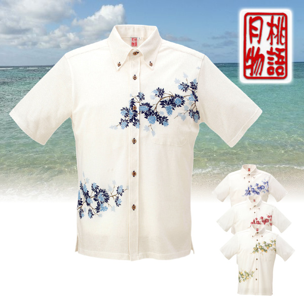 かりゆしウェア ポロシャツ メンズ 月桃物語 デイゴパネル柄 全シャツボタンダウン