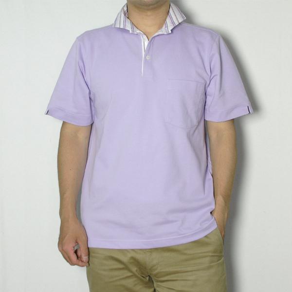 メンズ ストライプ衿ポロシャツ