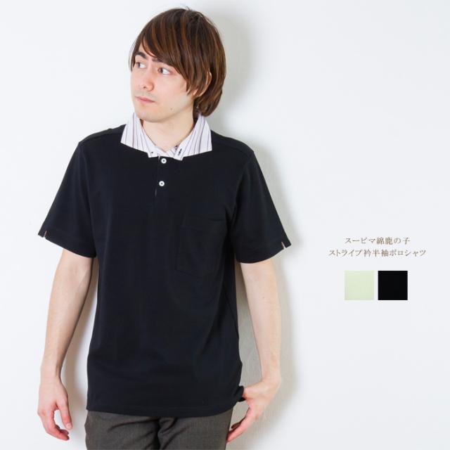 メンズ スーピマ綿鹿の子 ストライプ衿半袖ポロシャツ【日本製】