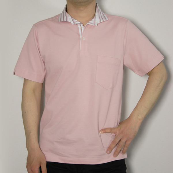 メンズストライプ衿ポロシャツ2【日本製】