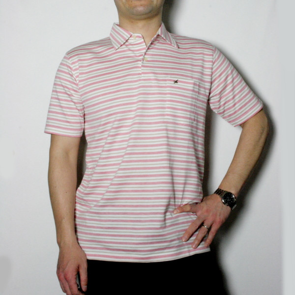 メンズボーダー半袖ポロシャツ