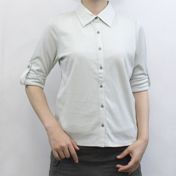レディース ロールアップカットソーシャツ(中国製)