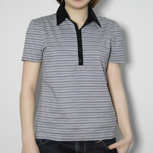 ボーダー柄の布帛衿付きプルオーバー【日本製】