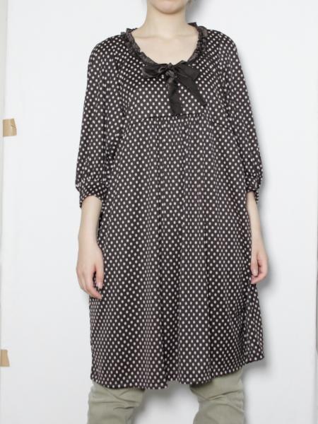 サテンリボン付きデザインワンピース【日本製】
