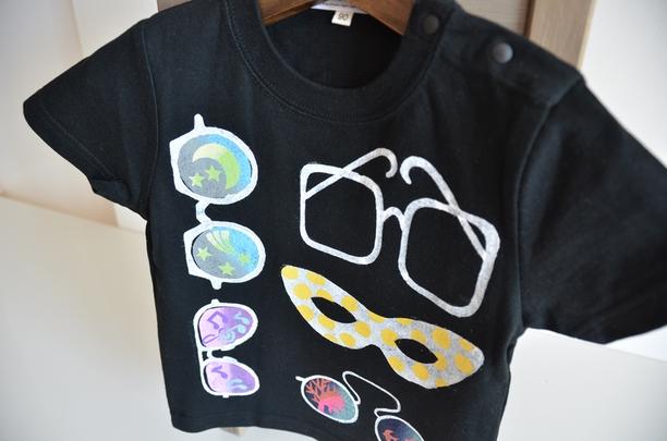 子供用Tシャツ【めがね】 ブラック