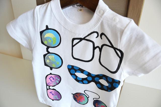 子供用Tシャツ【めがね】 ホワイト