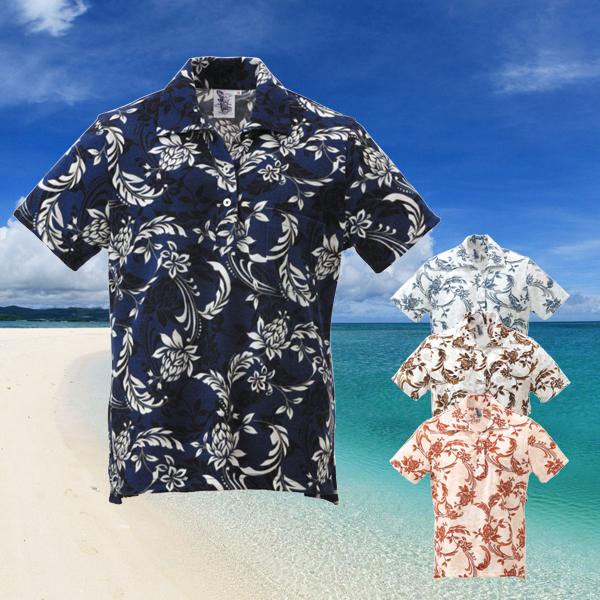 かりゆしウェア ポロシャツ レディース はにんす 唐草柄 スキッパー