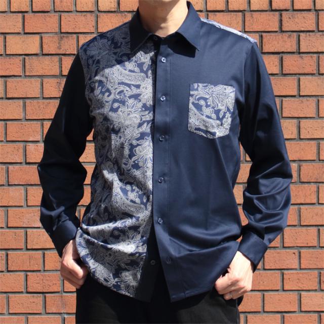 メンズ 88/2スムース×ペイズリー柄 長袖ニットシャツ