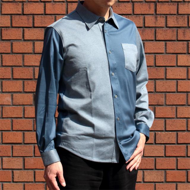 メンズ 88/2スムース×ヘリンボーン 長袖ニットシャツ