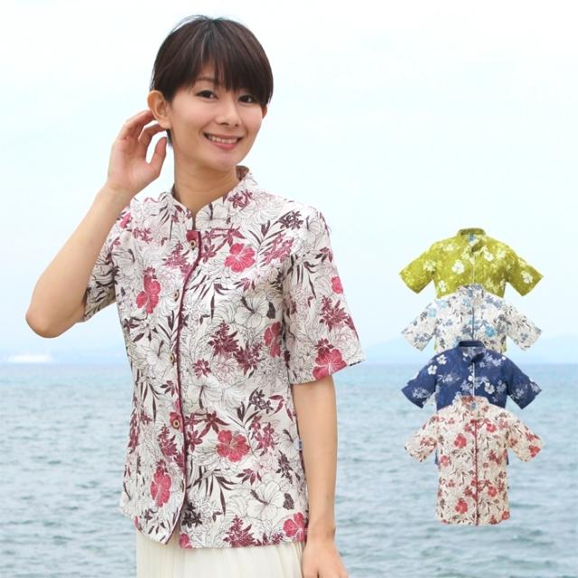 かりゆしウェア 沖縄産アロハシャツ レディース 沖縄物語 線描きハイビ柄 マオカラー