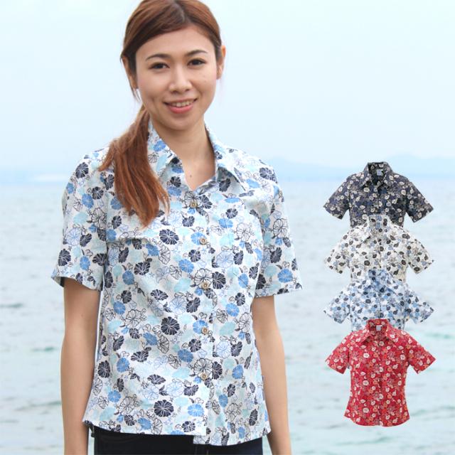 かりゆしウェア 沖縄産アロハシャツ レディース 沖縄物語 グンバイ昼顔柄 スキッパー