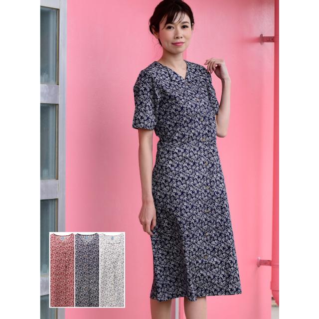 かりゆしウェア 沖縄アロハシャツ レディース デイゴ小花柄 ワンピース 半袖