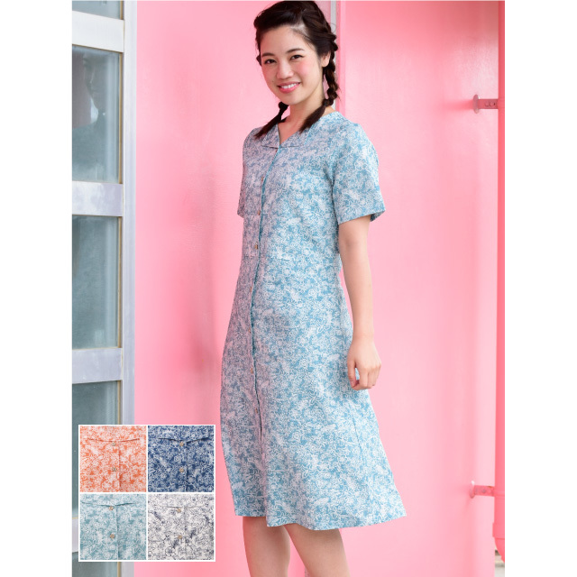 かりゆしウェア 沖縄アロハシャツ レディース 小花柄 ワンピース 半袖