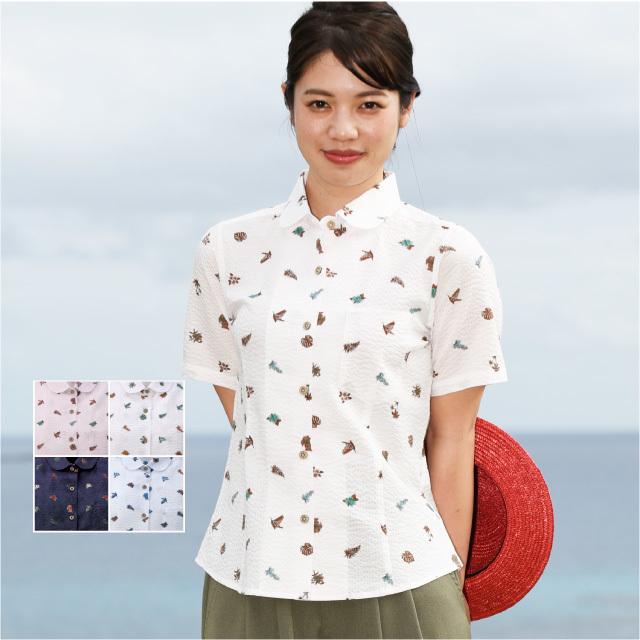 かりゆしウェア 沖縄アロハシャツ レディース シーサー小花柄 丸衿シャツ 半袖