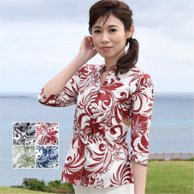 かりゆしウェア 沖縄アロハシャツ レディース オーメントデイゴ柄 マオカラー 七分袖