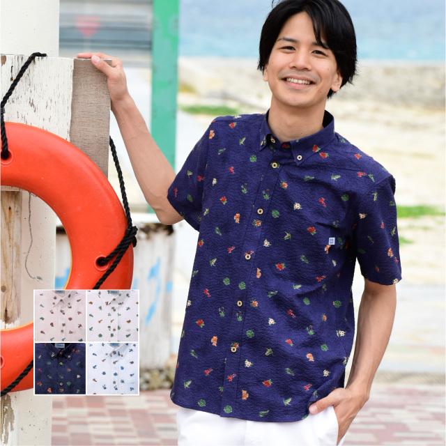 かりゆしウェア 沖縄アロハシャツ メンズ シーサー小花柄 ボタンダウン ボディフィット