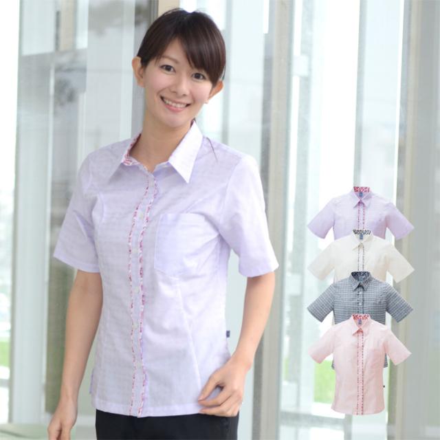 かりゆしウェア 沖縄産アロハシャツ レディース 沖縄物語 デイゴ柄 シャツカラー ハミ出し