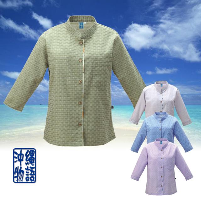 かりゆしウェア 沖縄産アロハシャツ レディース 芭蕉紋様柄 マオカラー 七分袖