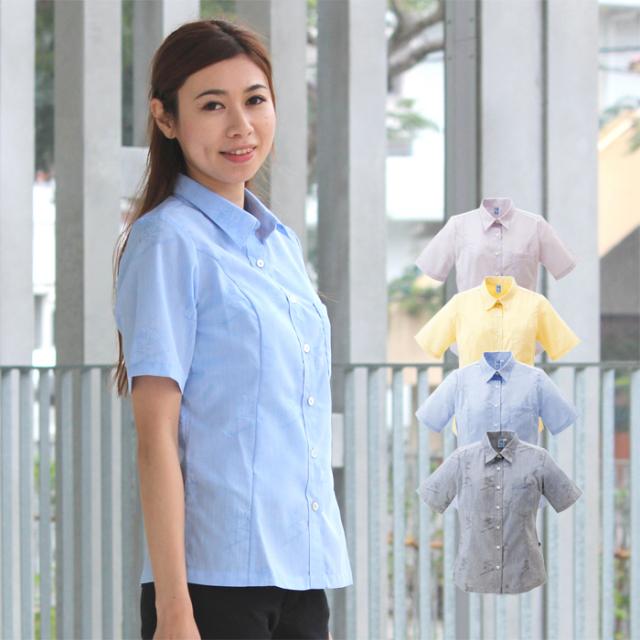 かりゆしウェア 沖縄産アロハシャツ レディース 沖縄物語 テッポウユリシーサー柄 シャツカラー