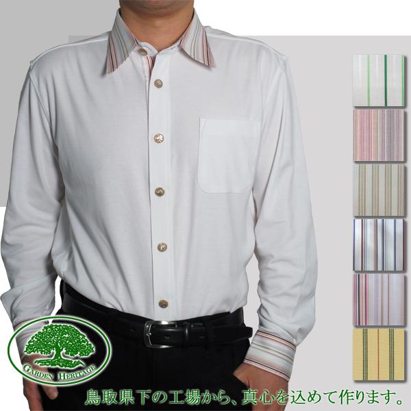 【脇役が選べるUVケアオーダーシャツを鳥取から】メンズ長袖100双強撚スムース布帛使いニットYシャツ【受注