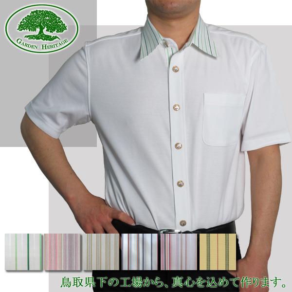 【脇役が選べるUVケアオーダーシャツを鳥取から】メンズ半袖100双強撚スムース布帛使いニットYシャツ【受注