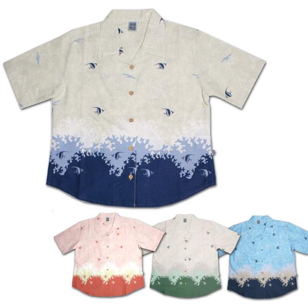 かりゆしウェア【珊瑚物語】レディース 珊瑚裾柄
