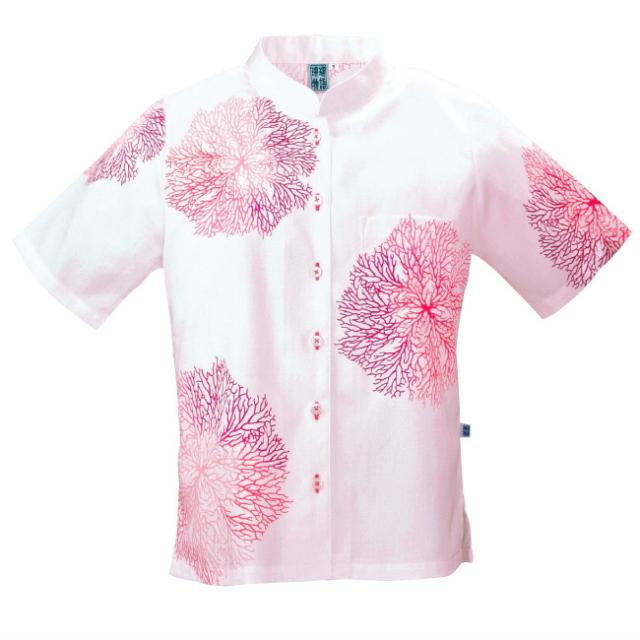 かりゆしウェア 沖縄 アロハシャツ レディース サンゴ柄 マオカラー