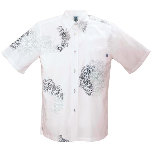 かりゆしウェア 沖縄アロハシャツ メンズ サンゴ柄 ボタンダウン