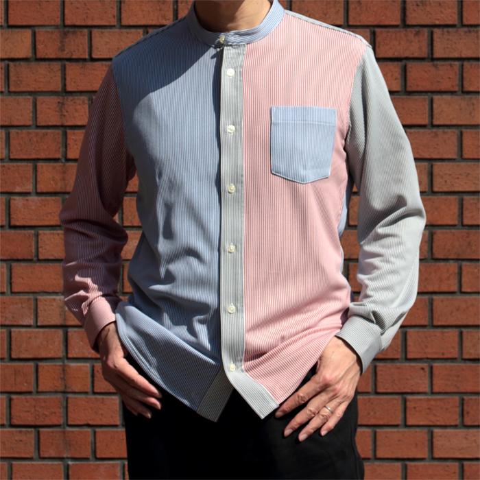 メンズ バンブーストライプ スタンドカラー長袖シャツ