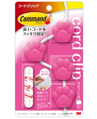 3M コマンド コードクリップ 肉球(ピンク)CMG-PP 小箱10個入り
