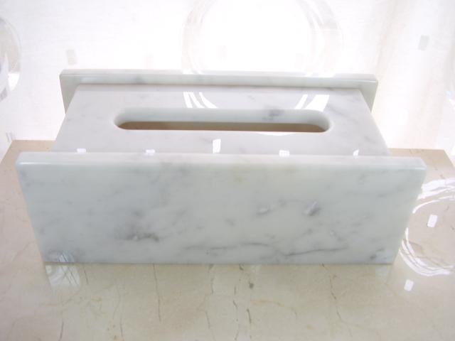天然大理石 ティッシュボックス2007 (ビアンコカラーラ)